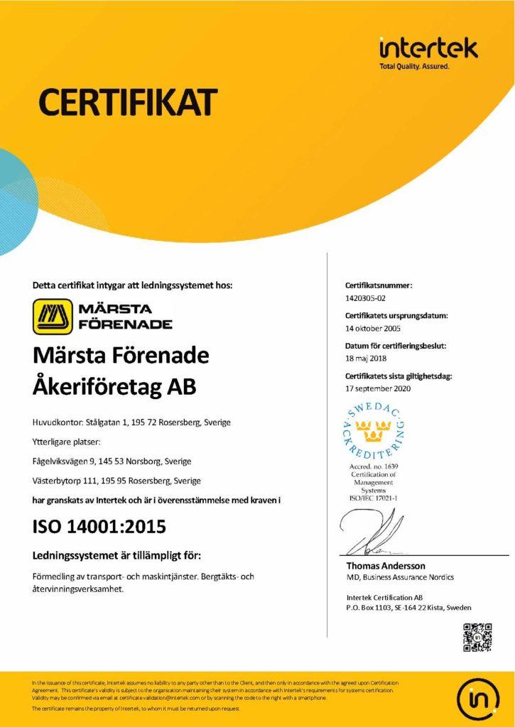Certifikat 14001 Sv
