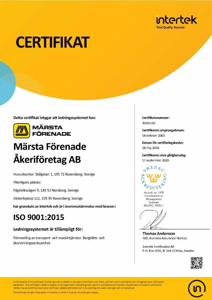 Certifikat 9001 Sv